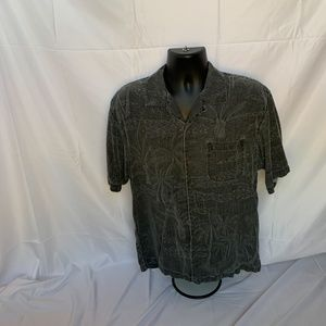 TOMMY BAHAMA Mens Medium Black Floral Silk shirt